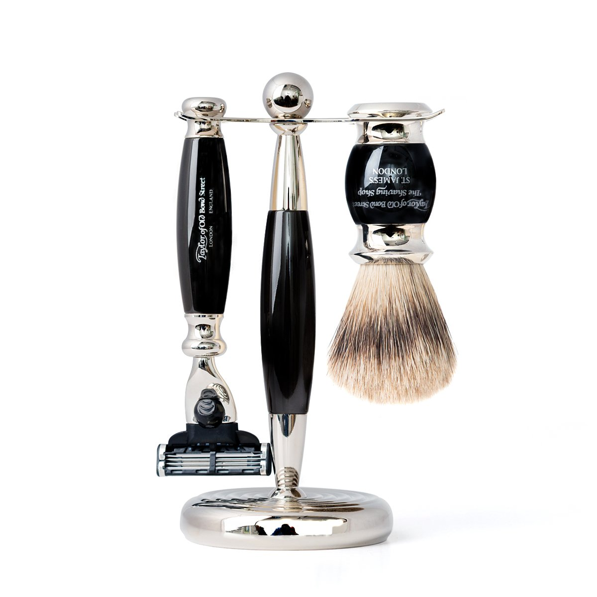 Black Super Mach3 Edwardian Shaving Set