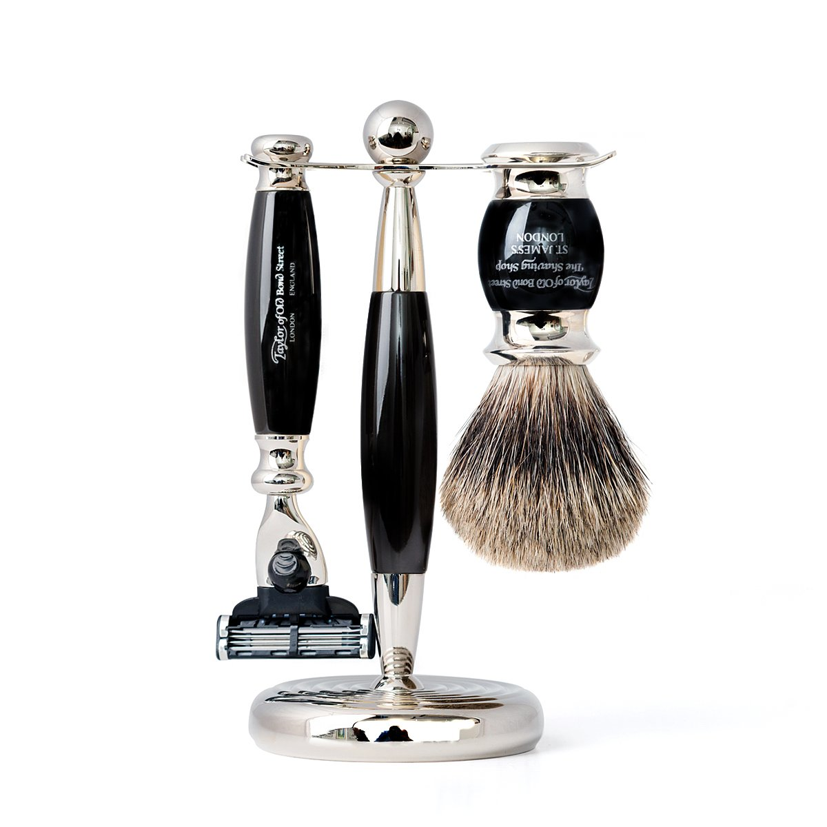 Black Pure Mach3 Edwardian Shaving Set