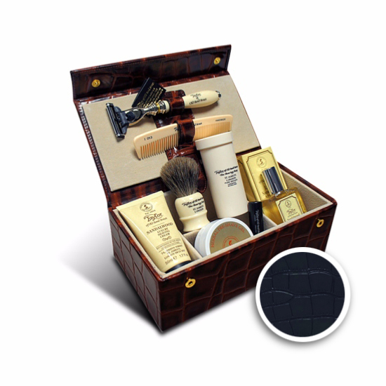 Set cadou de lux în cutie din piele maro